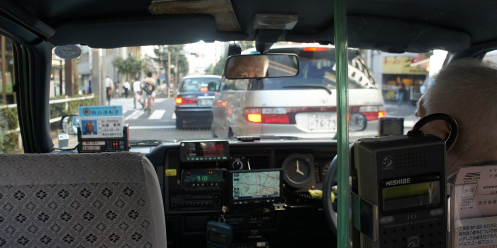 Taking a taxi in Japan
