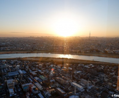 Tokyo's skyline observation deck from I-Link Tower, Chiba