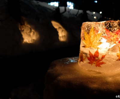 Otaru, Yuki Akari no Michi, Ice lantern incrusted in momiji leaves