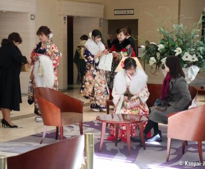Young Japanese women wearing furisode kimono for Seijin no Hi